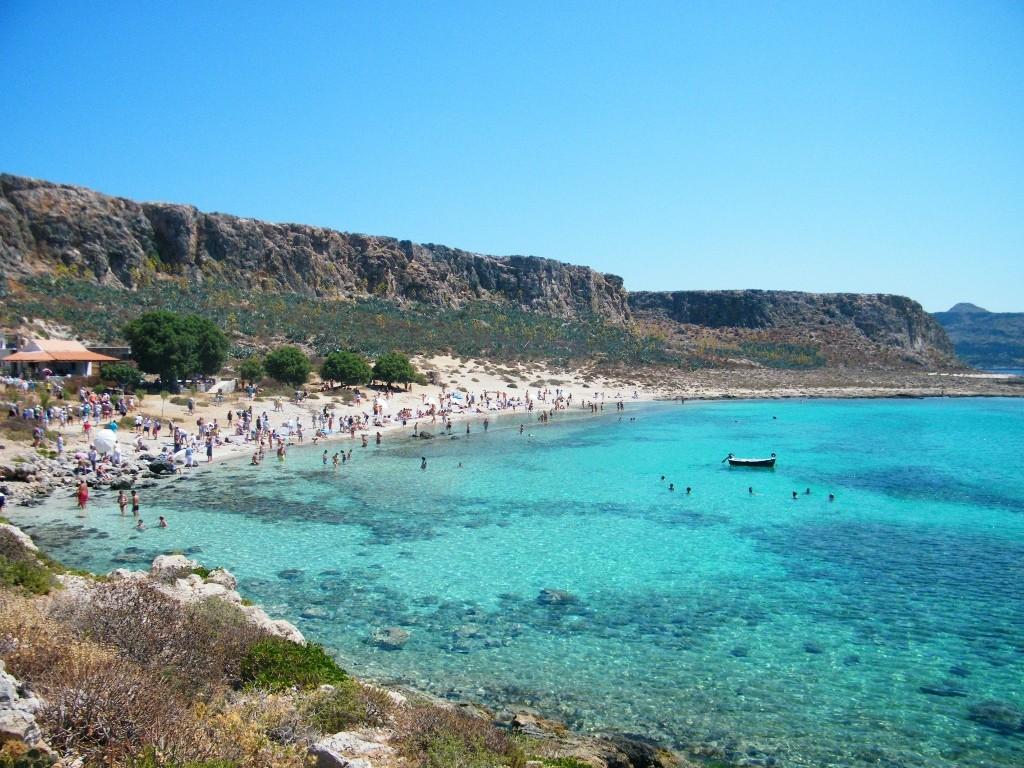 vista de la playa de arena de Balos en Creta