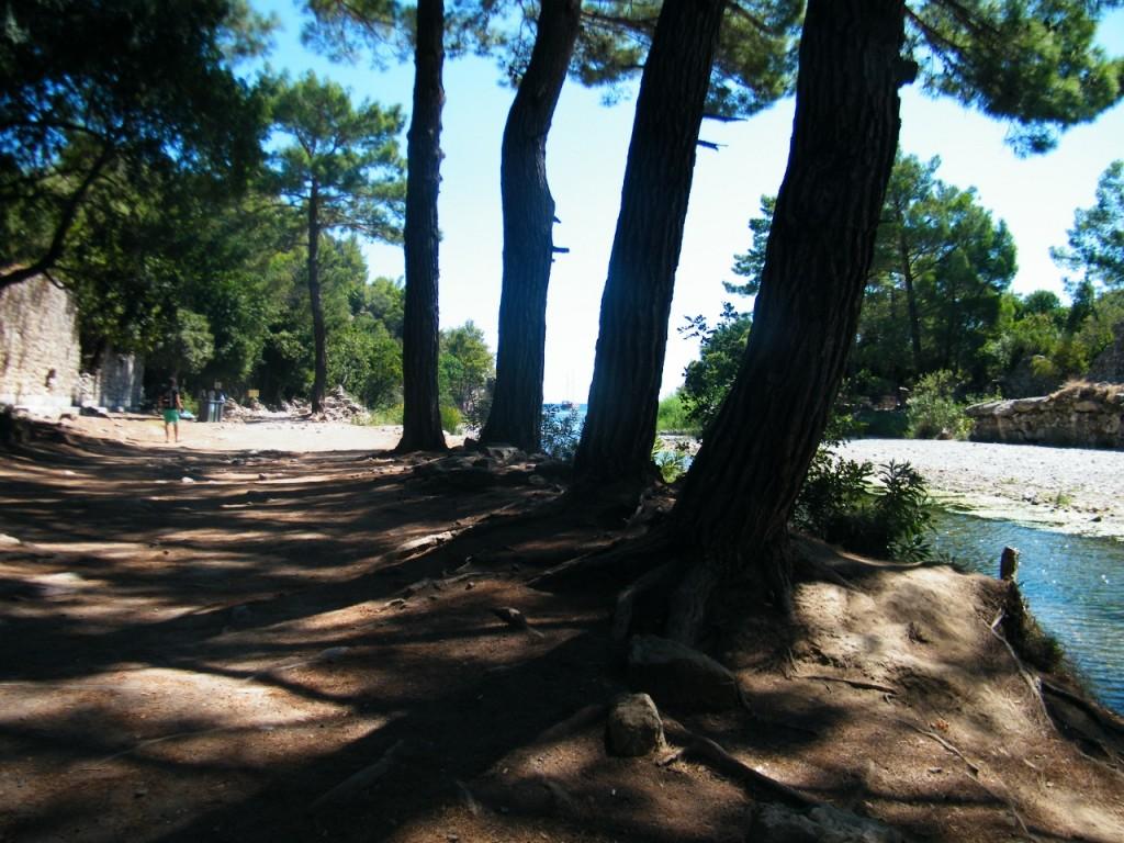 Paseo entre las ruinas de Olympus para bañarse en su playa